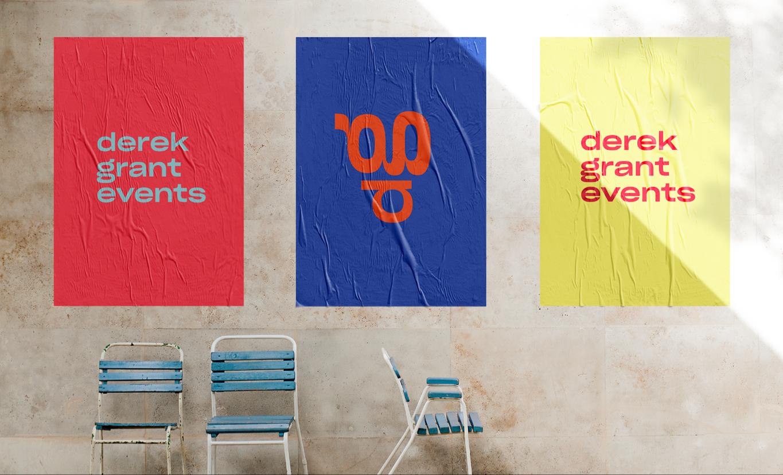 derek grant event visual identity logo on posters