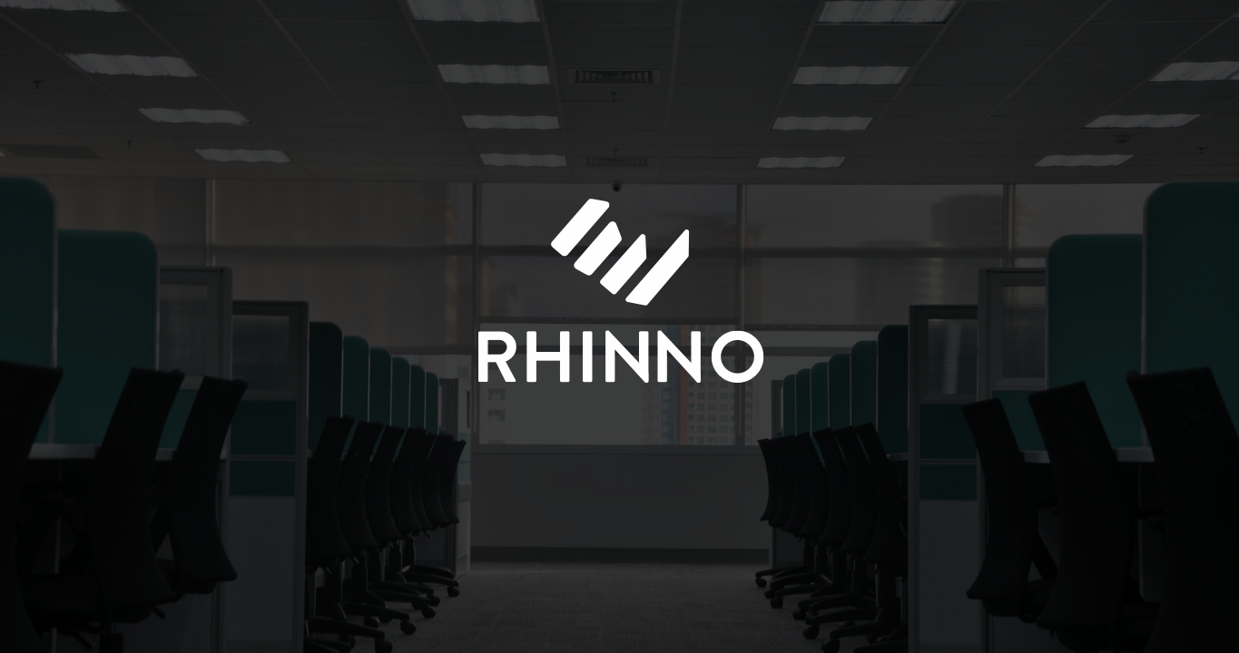 rhinno hr recruitment agency logo identity design over a picture of an office