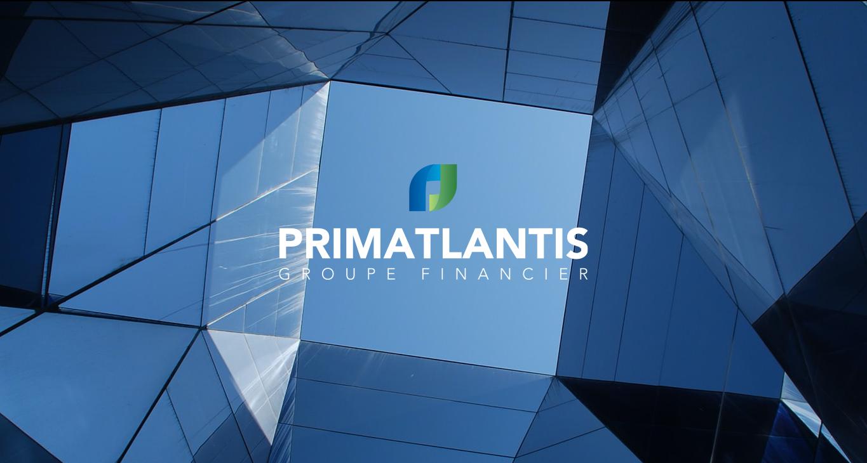 primatlantis capital finance group visuel identity logo design on a picture of skyscraper