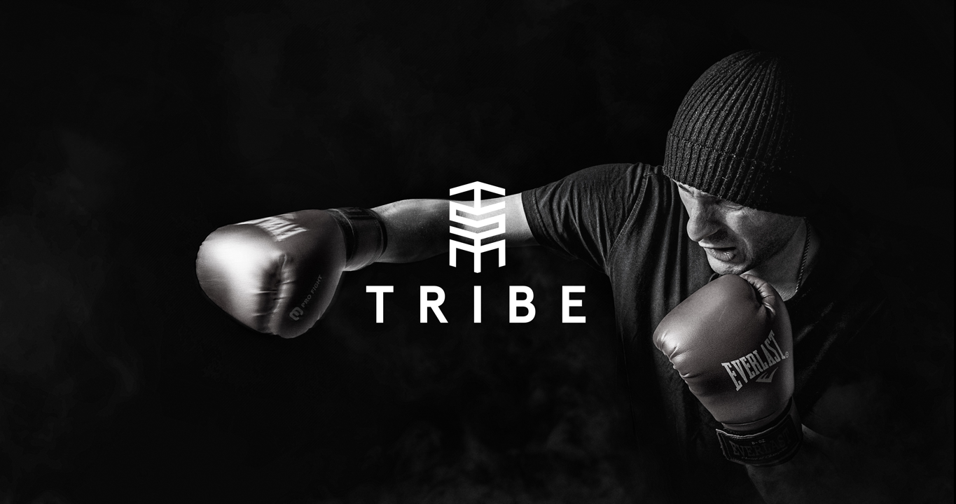 tribe sports marketing logo design preview over photography of a boxer