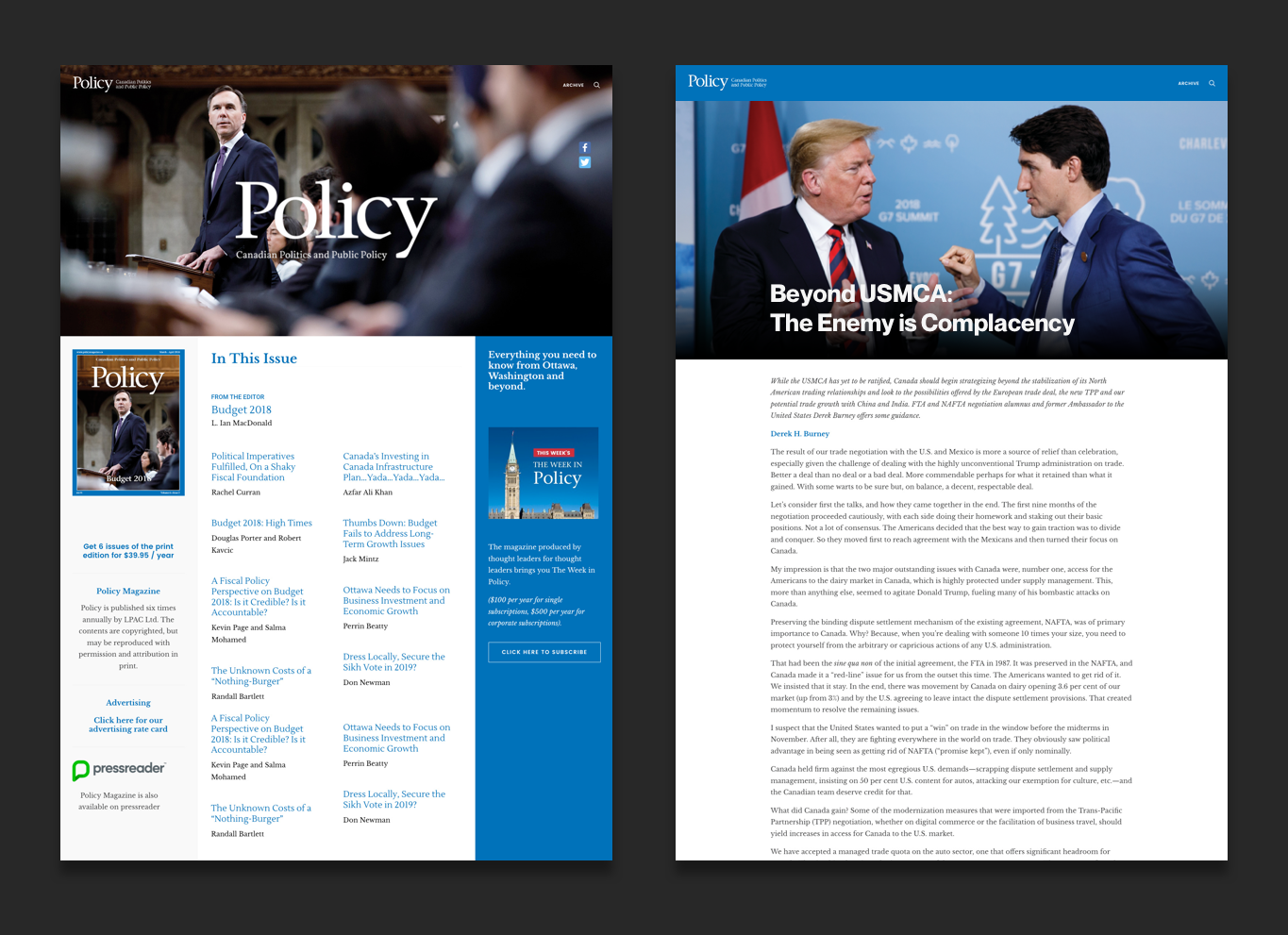 policy magazine canada web design pages preview
