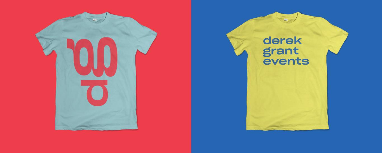 derek grant event visual identity logo on colorful merch t-shirt