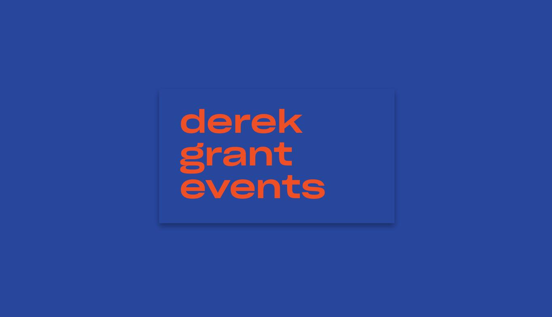 derek grant event visual identity logo on business card